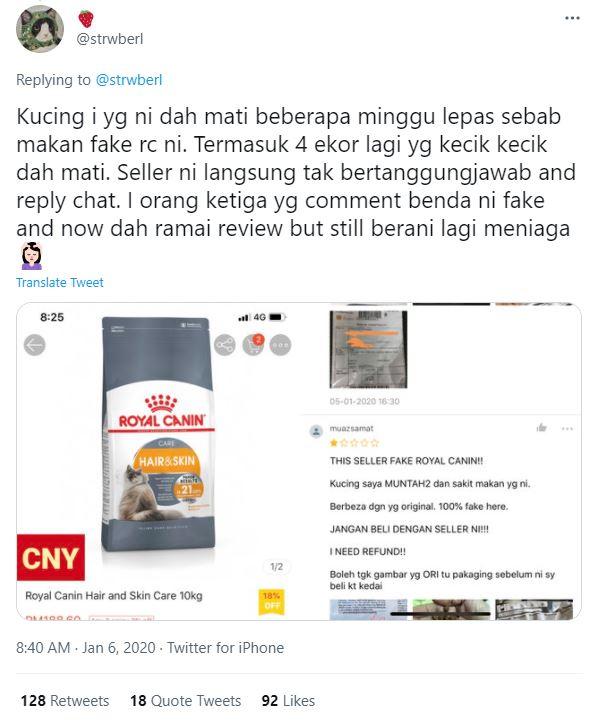 Twitter post about fake Royal Canin