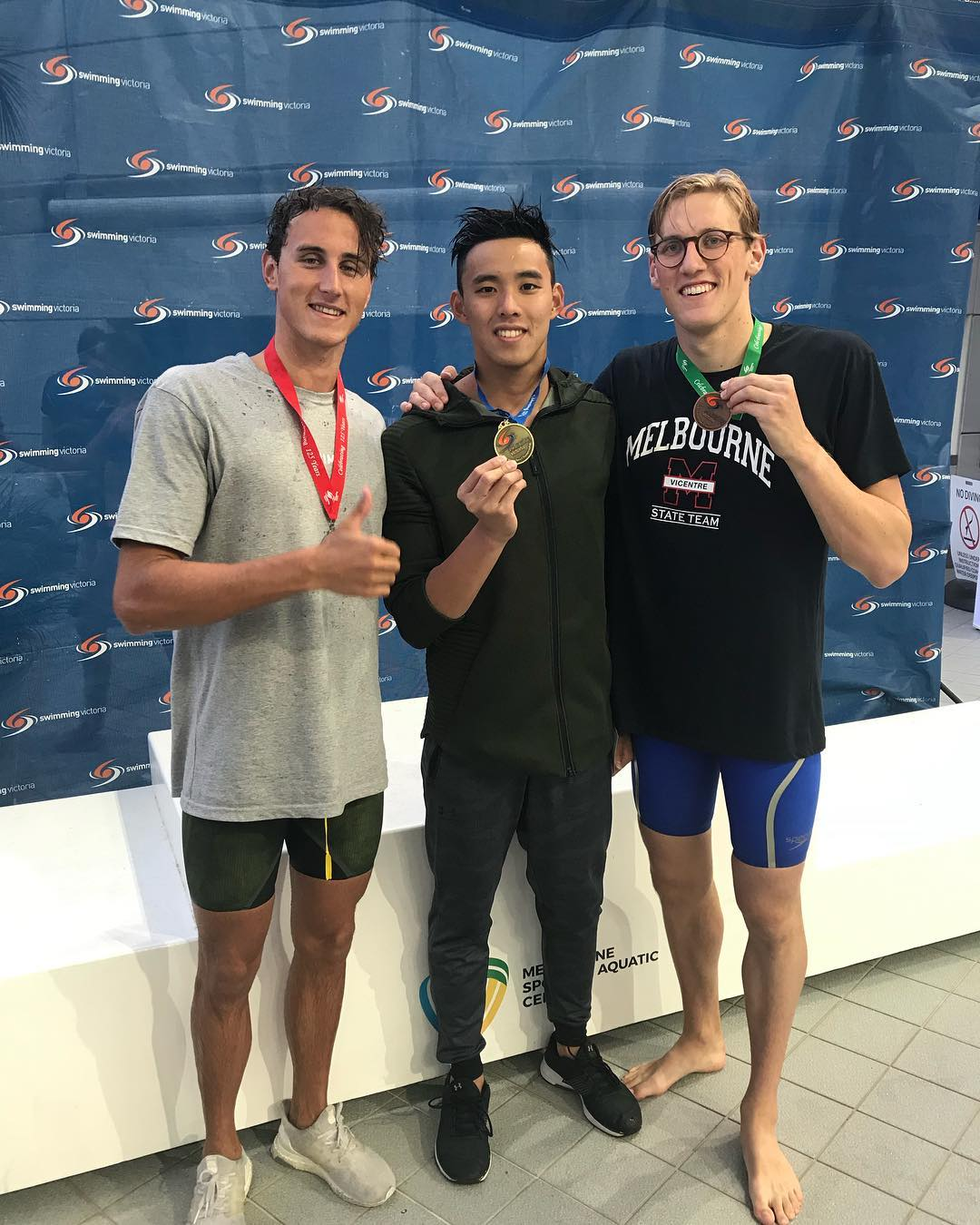 Malaysian swimmer Welson Sim with Mack Horton