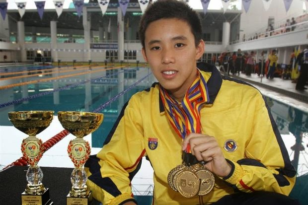 Malaysian swimmer Welson Sim when he was younger
