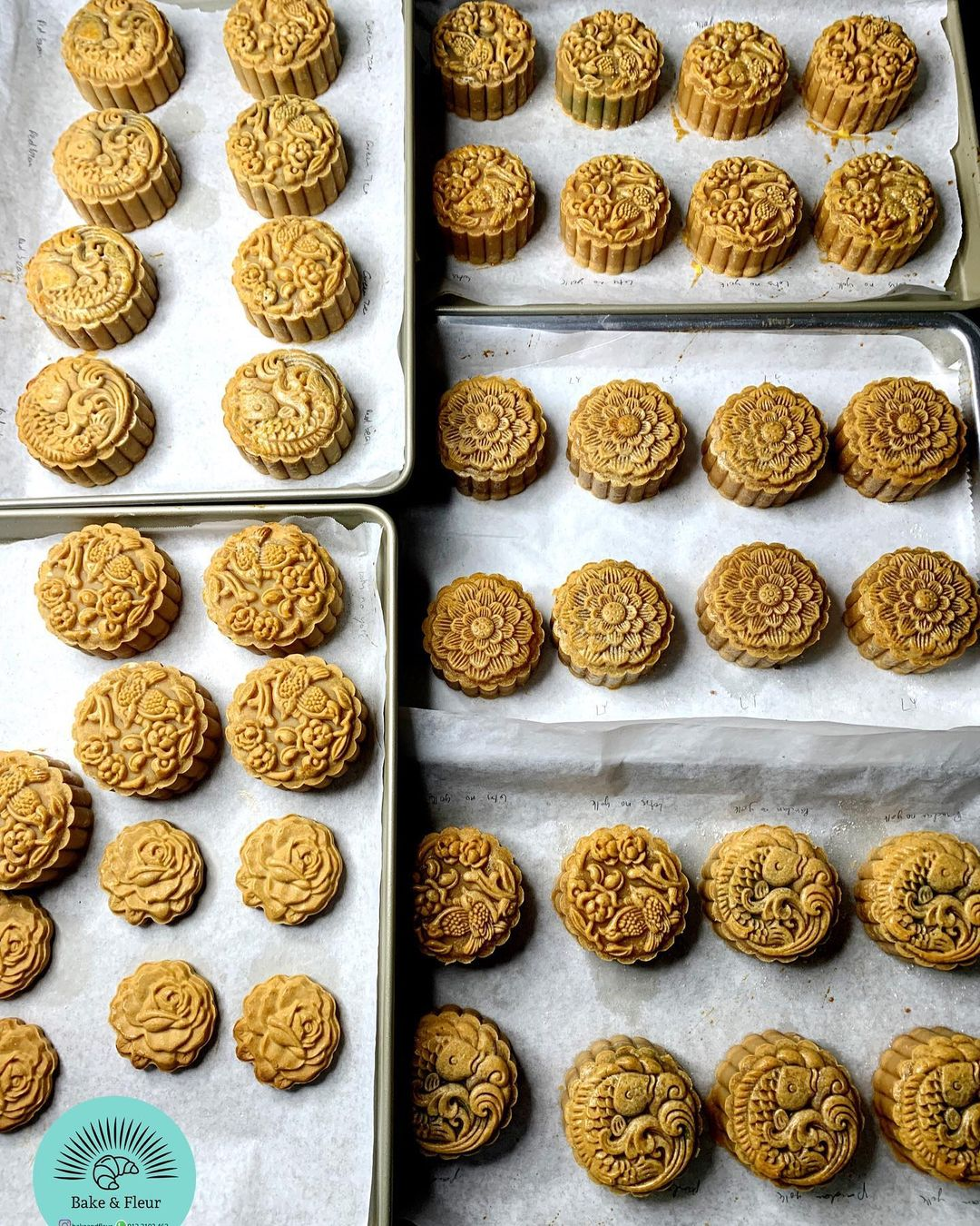 Mooncakes on a tray
