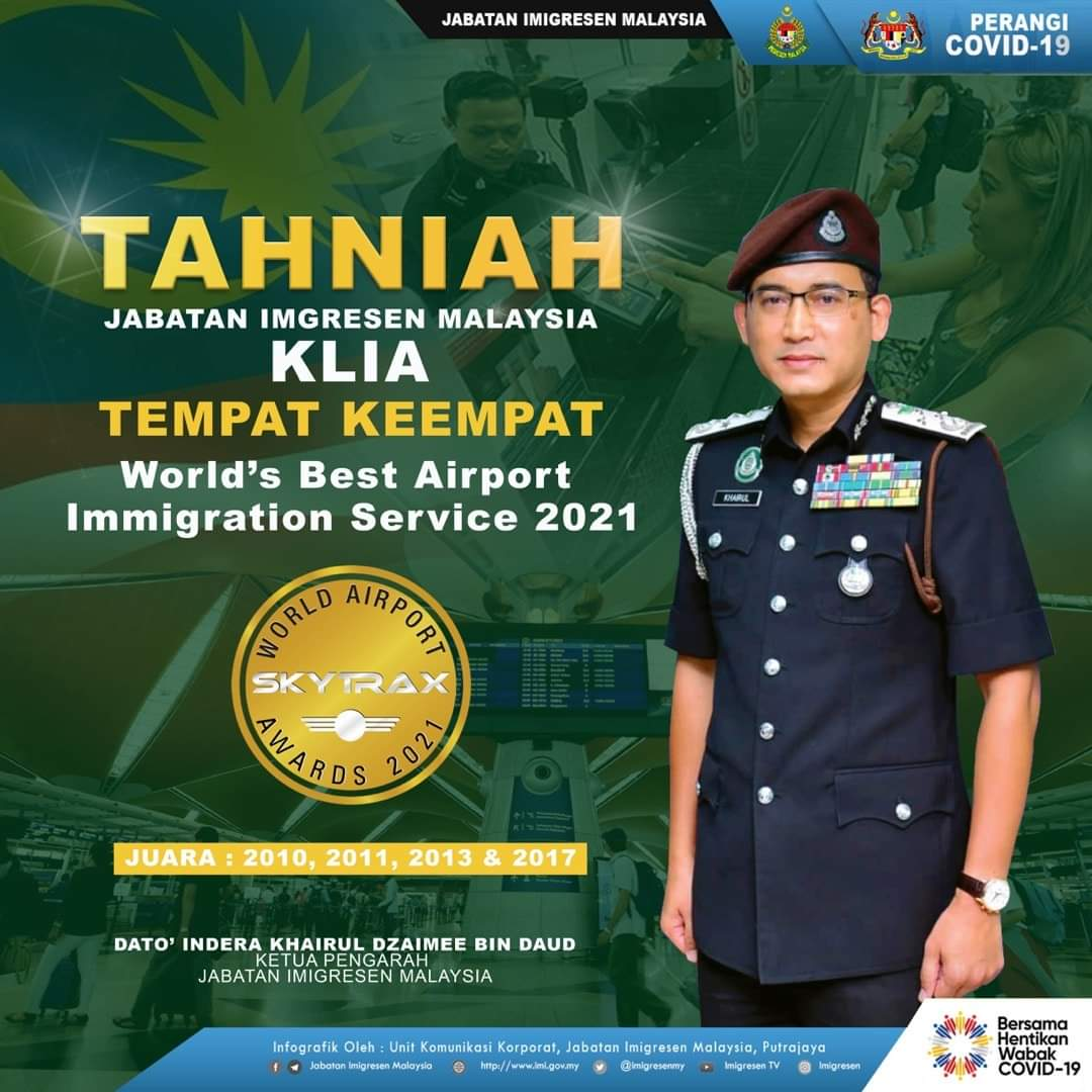 KLIA ranks 4th in World's Best Airport Immigration Service 2021