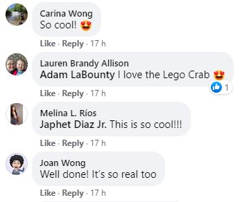 Facebook comments on LEGO's post