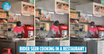 Foodpanda Rider Cooks In Restaurant After Waiting Too Long To Pick Up Order, Netizens Amused By His Actions