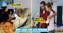 Wife Cares For Sick Husband Who Had A Stroke, Wins Netizens' Hearts For Her Unconditional Love & Support