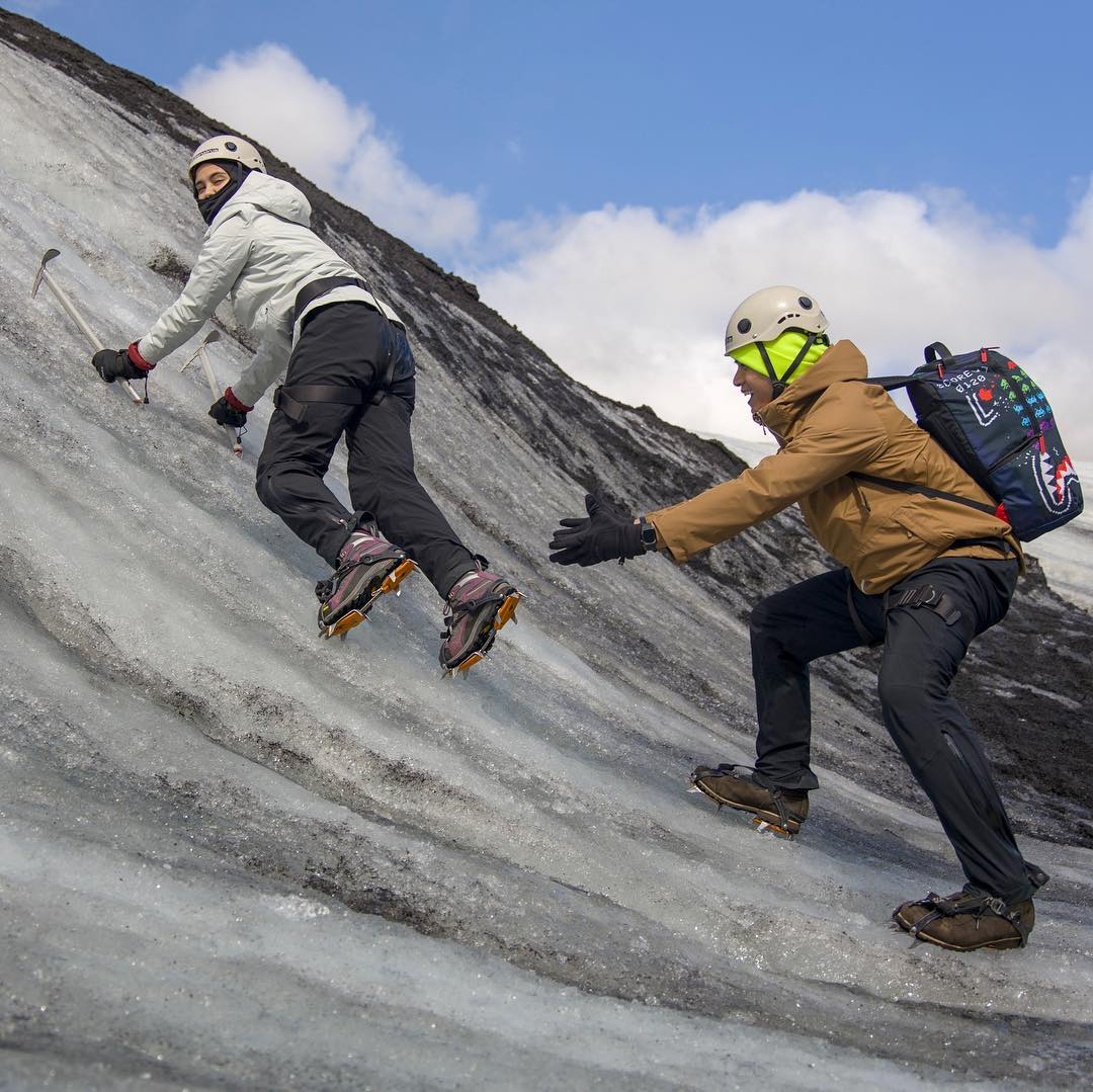 Climbing glaciers in Iceland