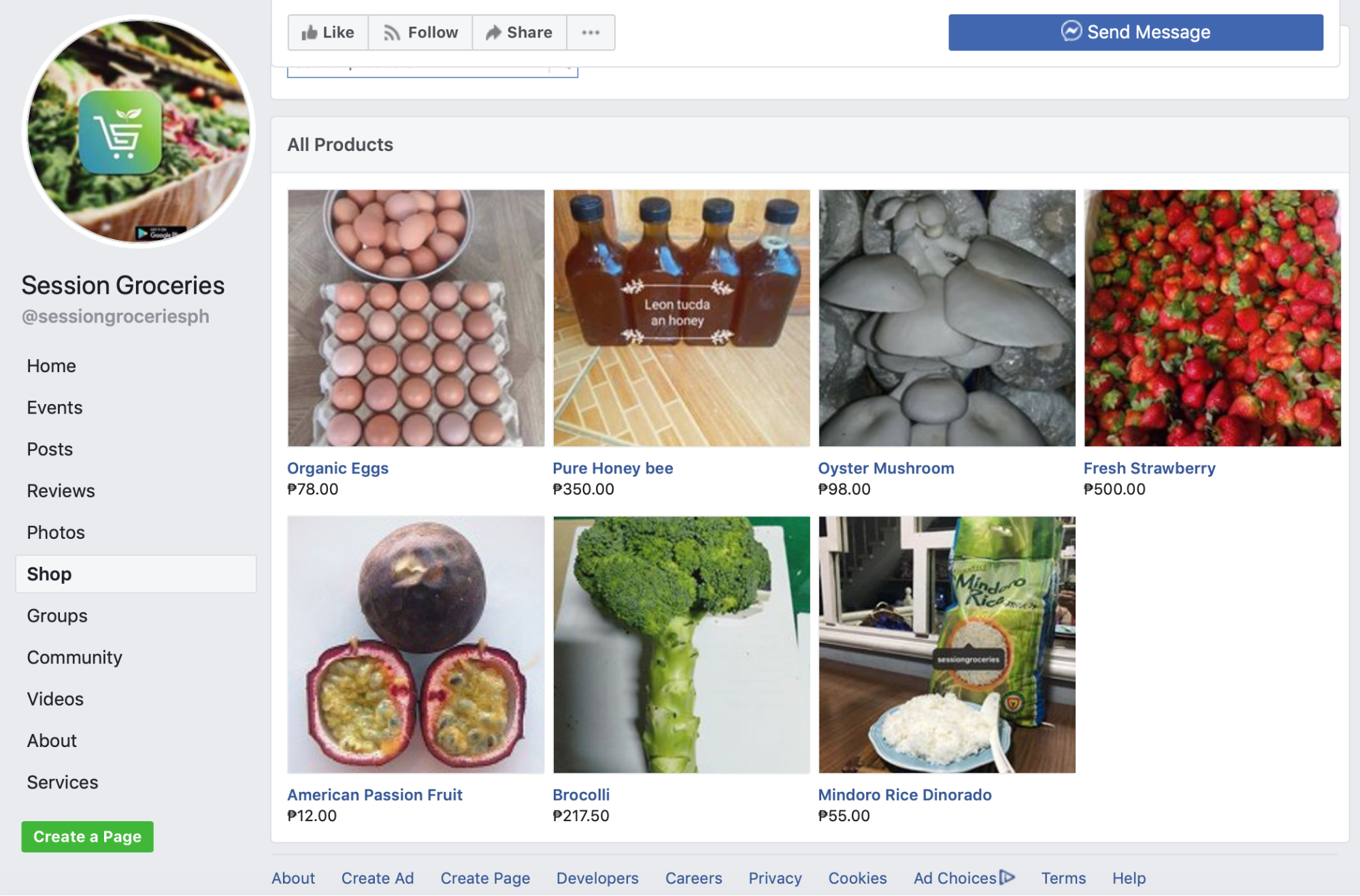 screenshot of the Shop tab on Session Groceries' Facebook page