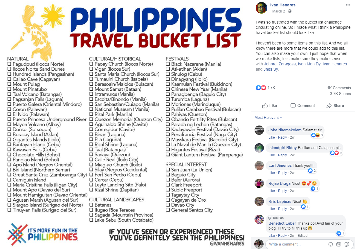 Philippine travel bucket list