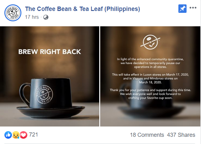 Coffee bean closing its branches nationwide in light of COVID-19