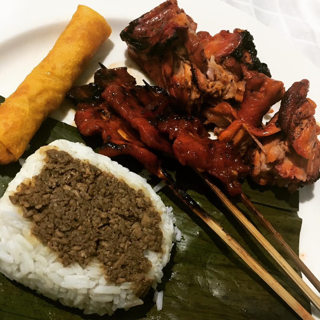 roxas avenue night market skewered meat with rice