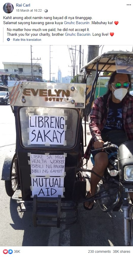 tricycle driver helping covid frontliners