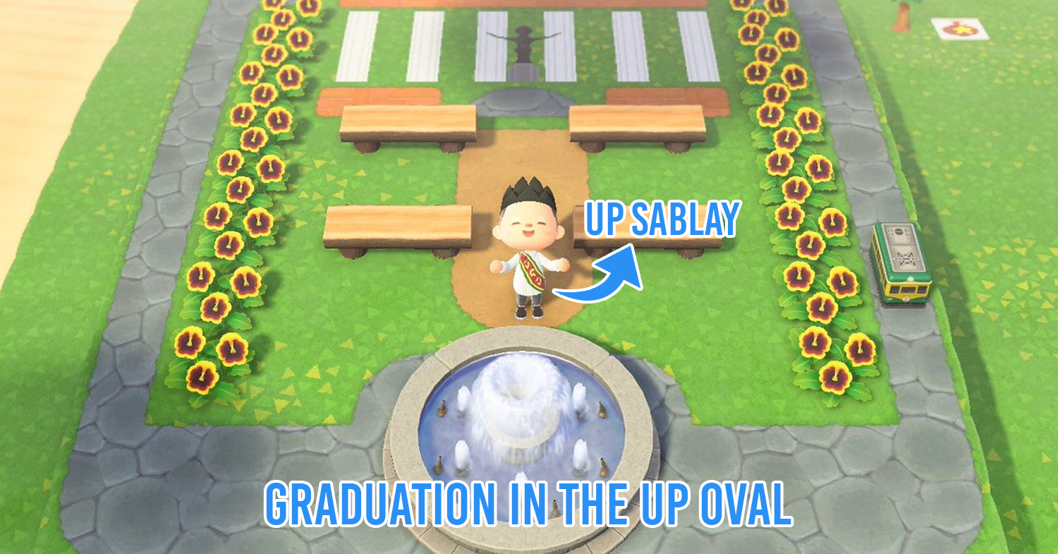 an animated version of a UP student in UP Oval, wearing a sablay