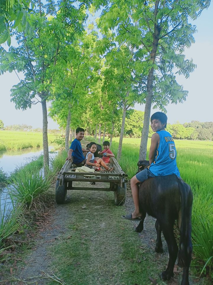 a farmer with his kids in pulilan
