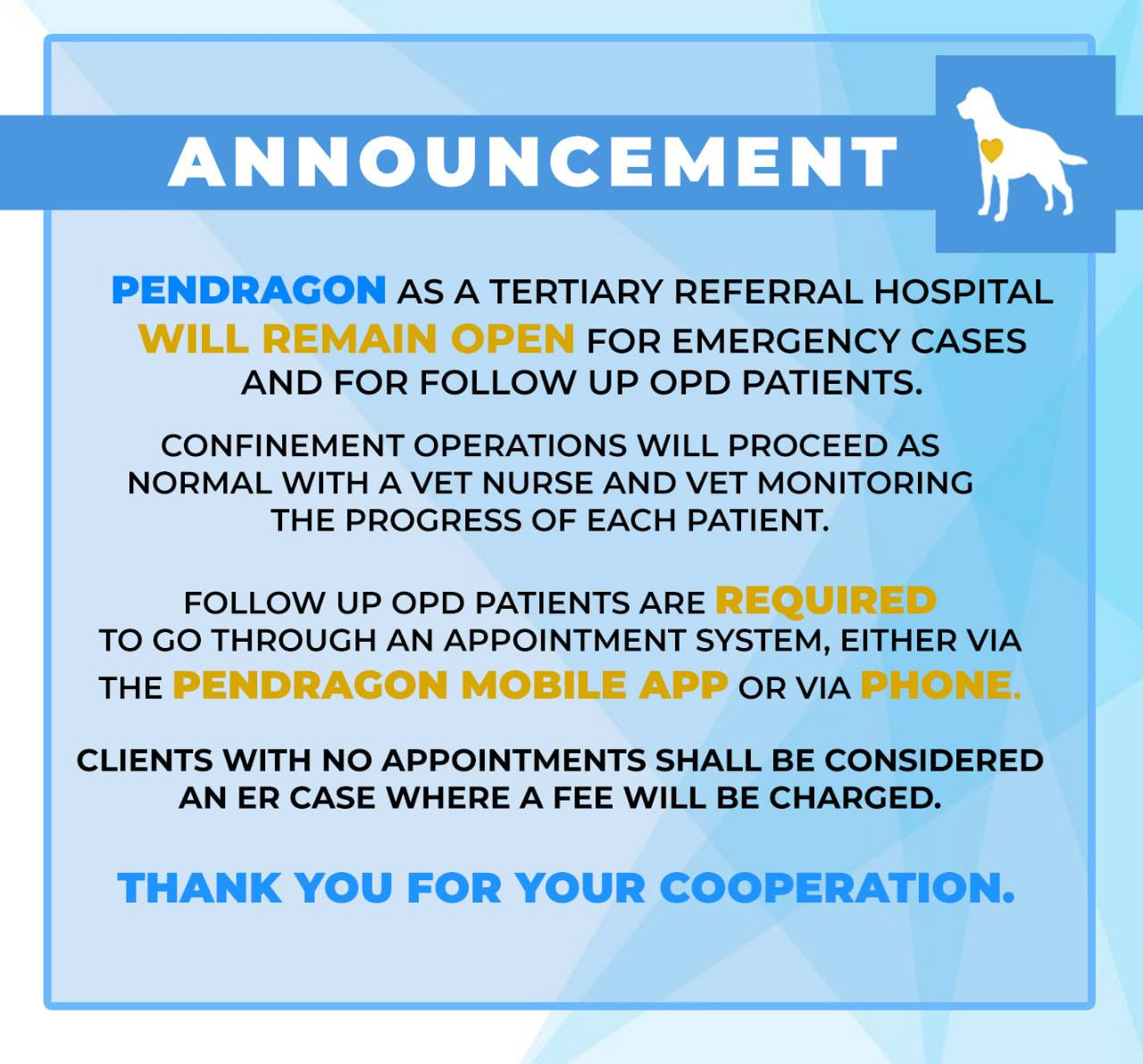 Pendragon Clinic's current schedule
