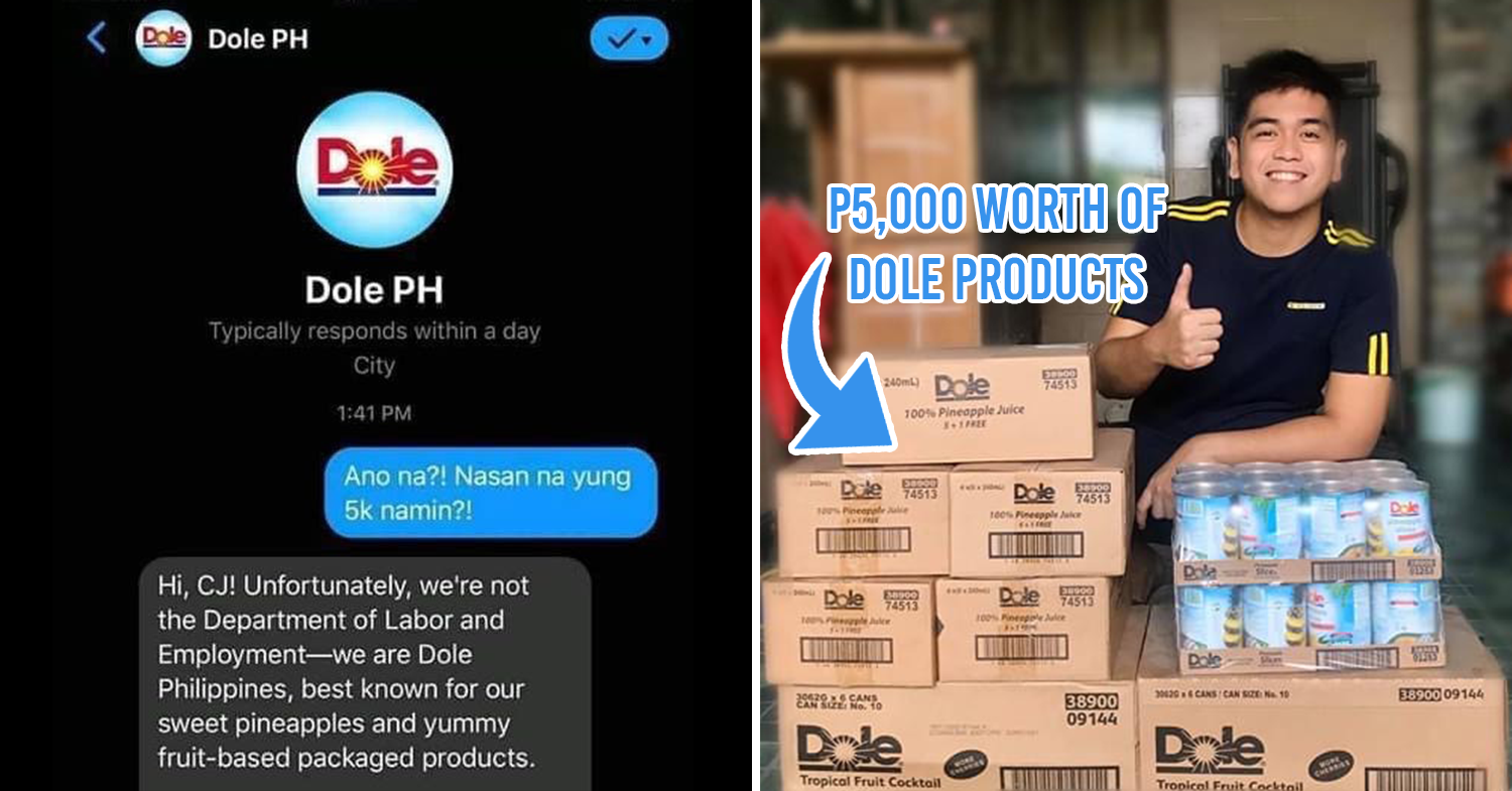 screenshot of conversation on Messenger (left), man with piles of boxes (right)