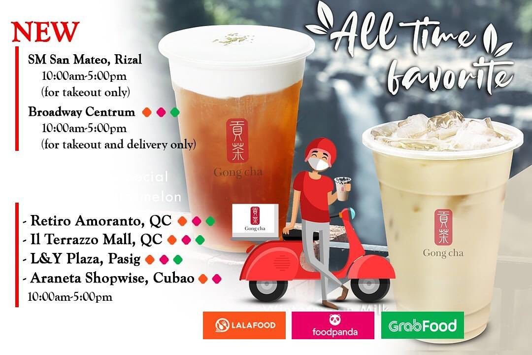 Gong Cha's branches open for delivery and take-out