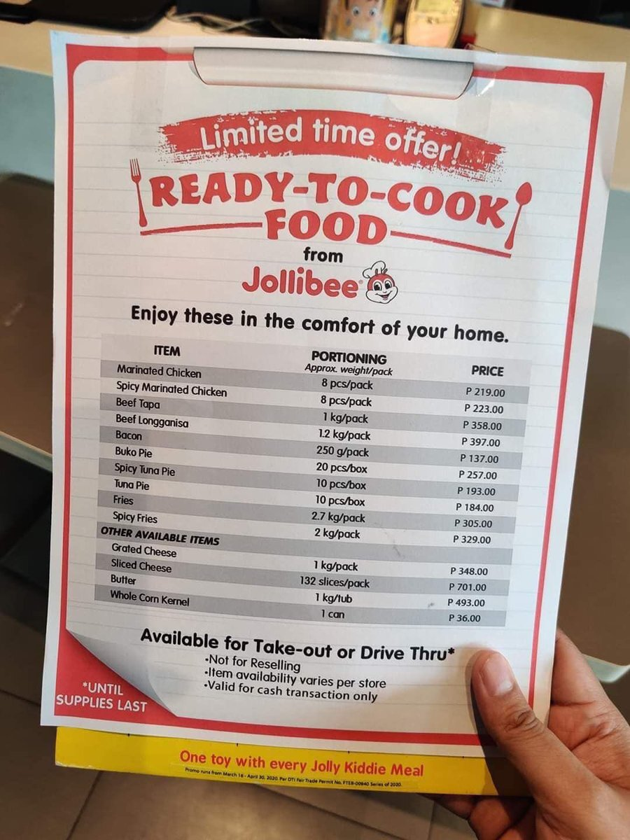 Menu of ready-to-cook food items available