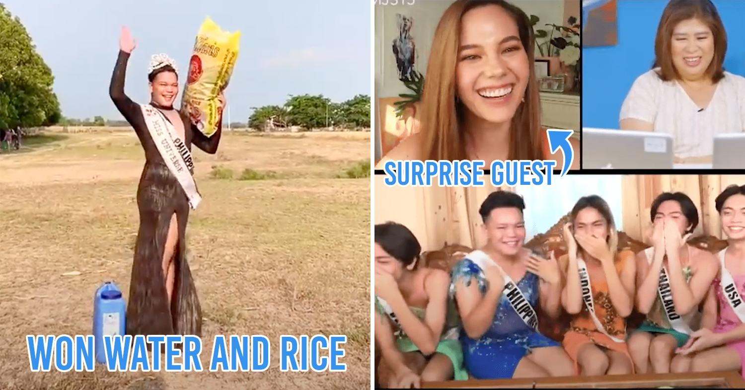 (Left:) Filipino in dress, with crown, sash, rice, and water, (Right:) video call with Catriona Gray, Jessica Soho, ParoDivas