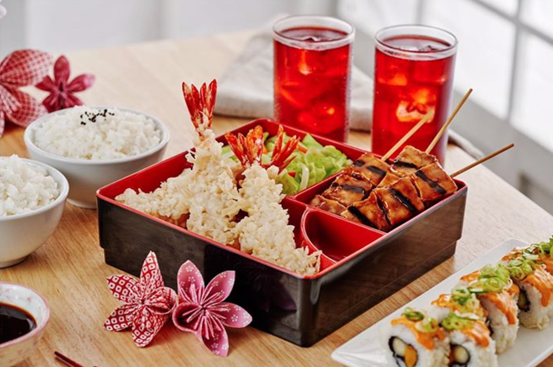 japanese bento with drinks
