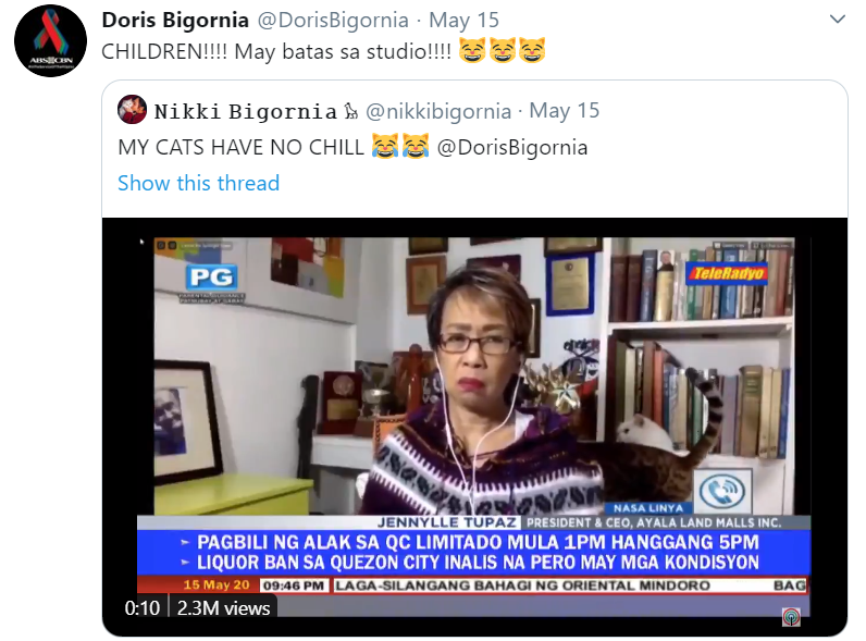"""In a response, the Mutya ng Masa, as we also fondly call the veteran journalist, retweeted her daughter's post, calling out the cats about having """"rules"""" in the studio, saying """"CHILDREN! We have rules in the studio!"""""""