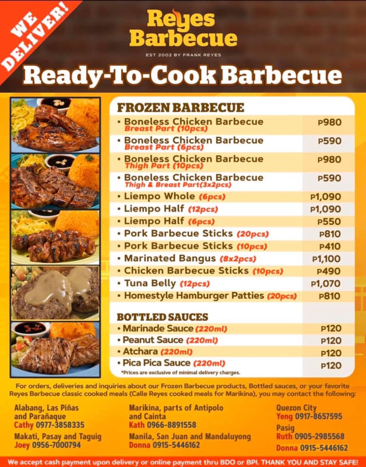reyes barbecue ready-to-cook menu