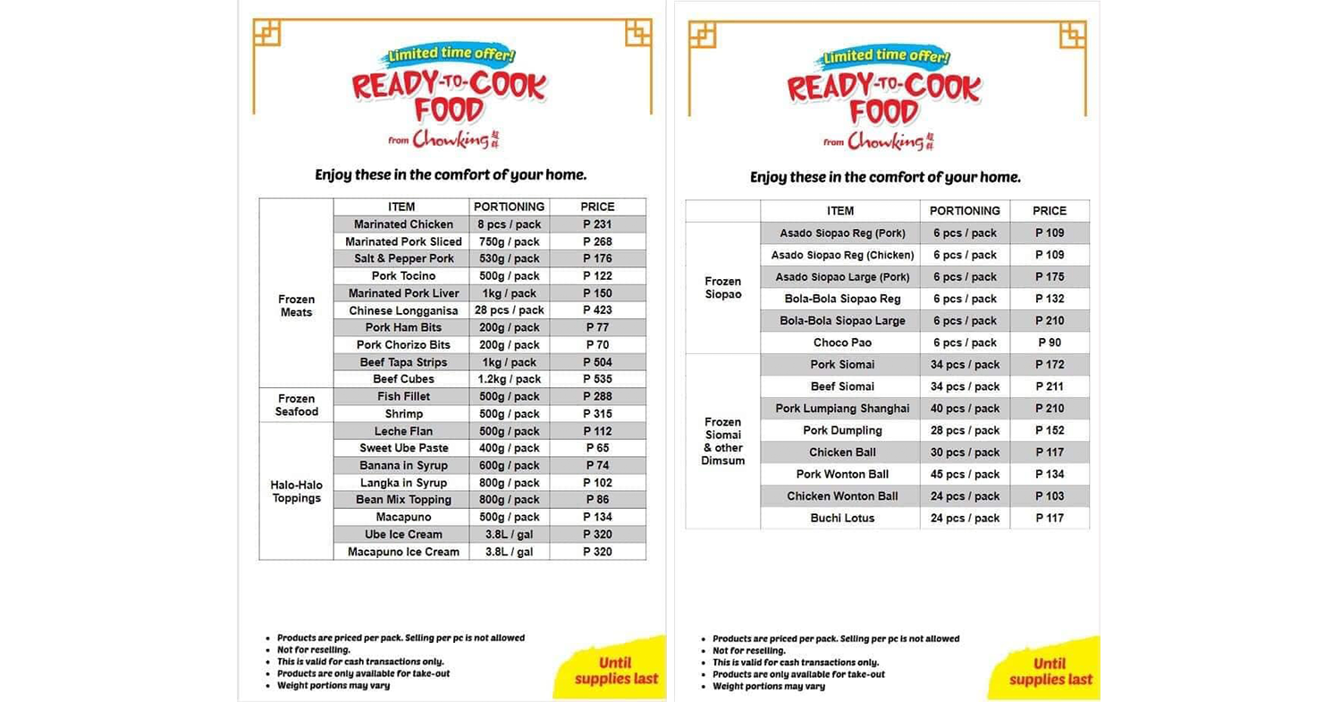 chowking ready-to-cook menu