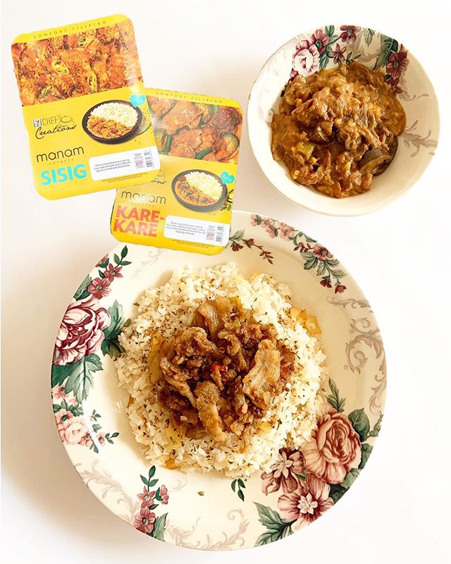 manam sisig and kare-kare from 7-eleven