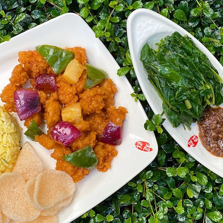 sweet and sour pork, and greens