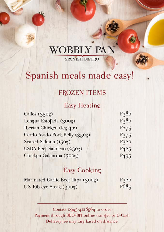 wobbly pan's ready-to-cook menu