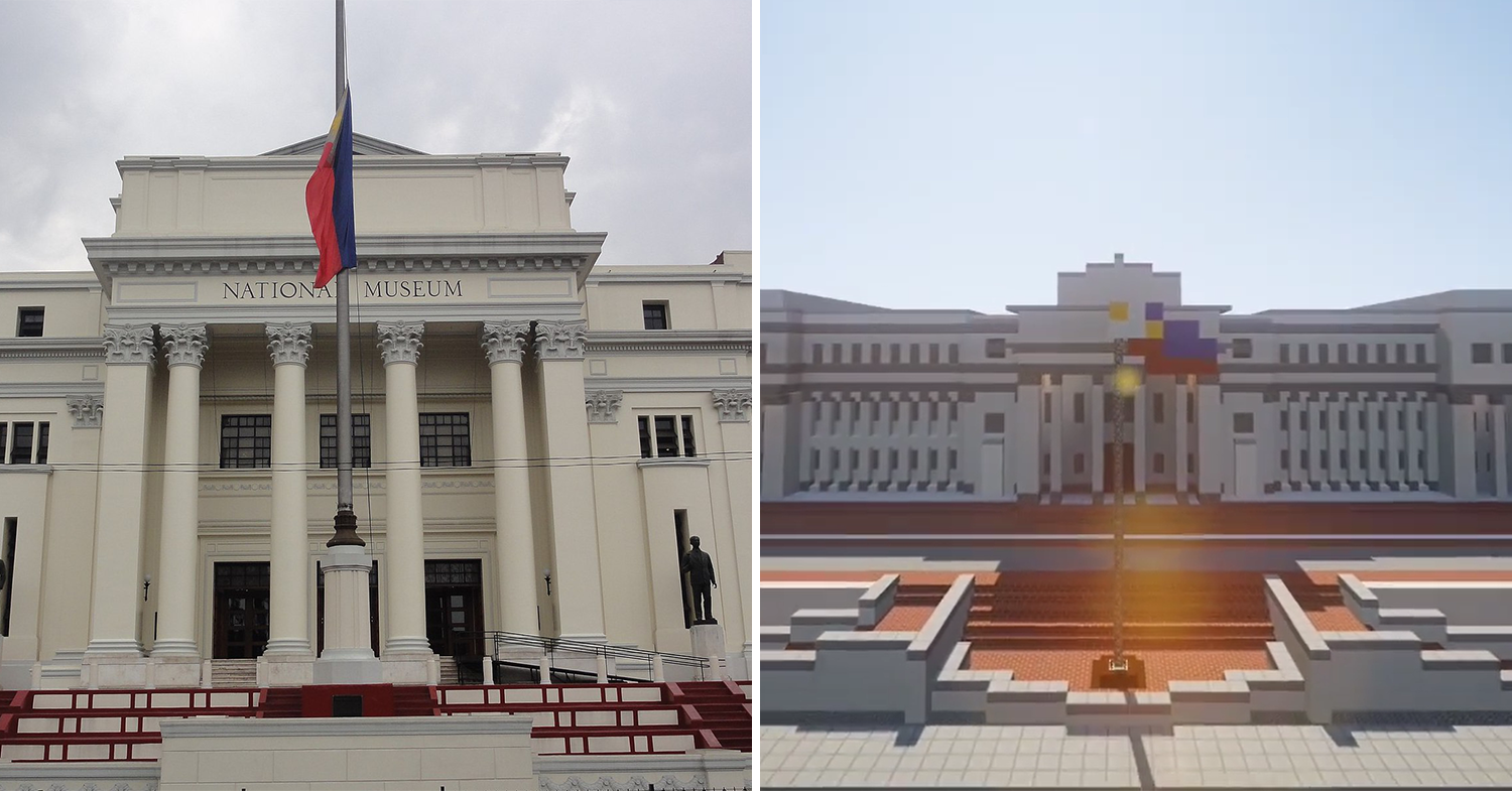 (left:) national museum of the philippines, (right:) digital representation of the national museum
