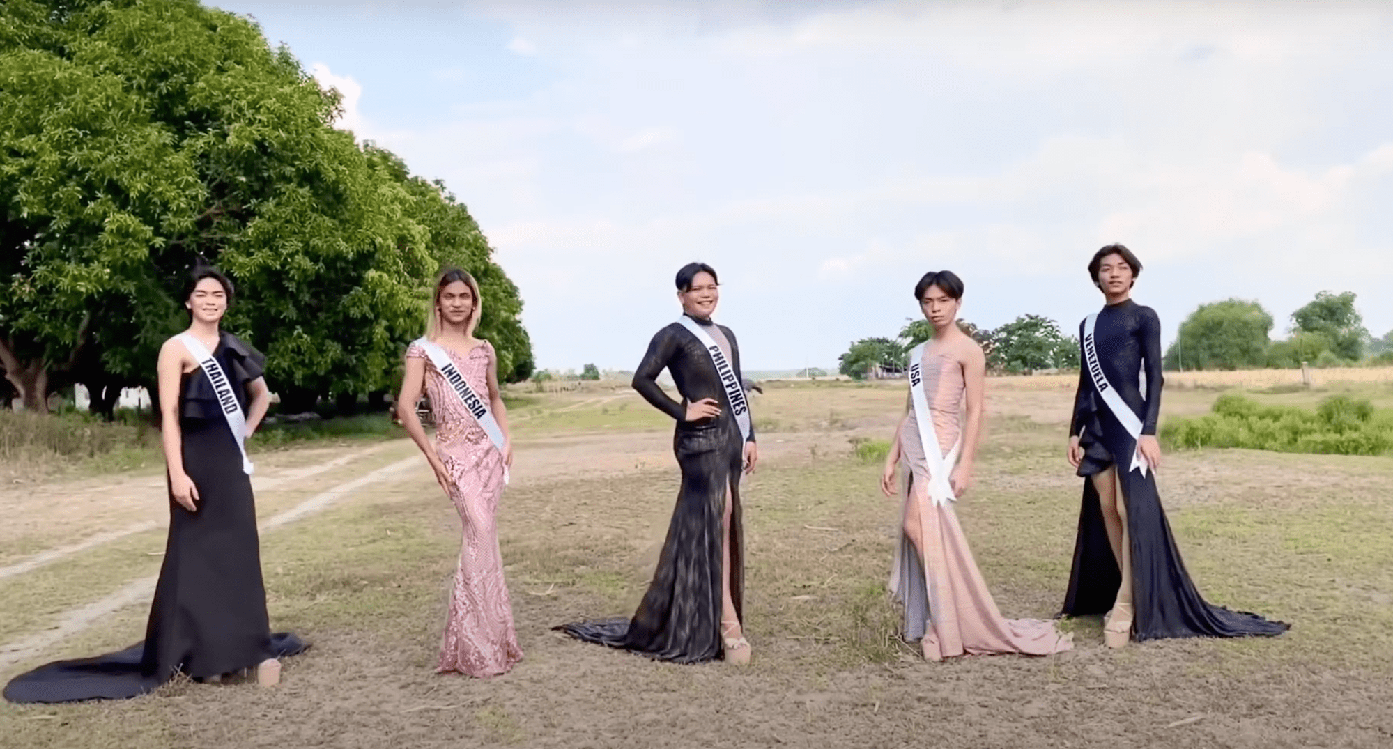 5 Filipinos in evening gowns