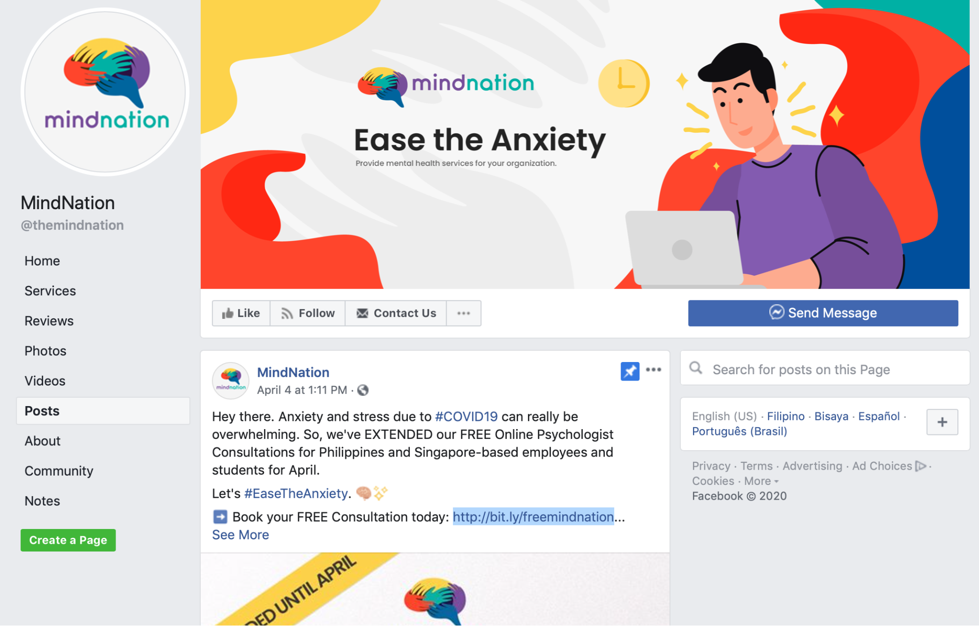 MindNation's Facebook page