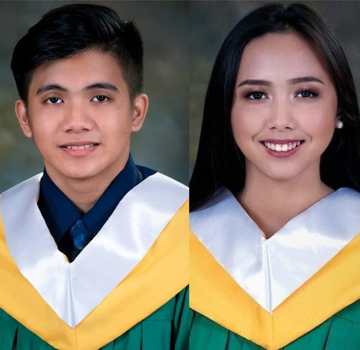 twins in graduation robes