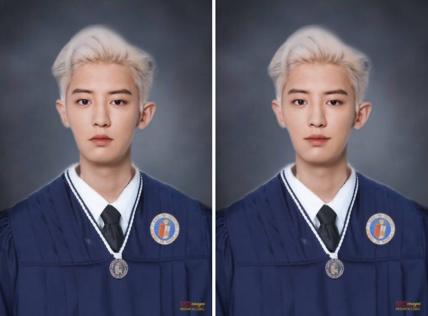 park chanyeol in a university graduation gown
