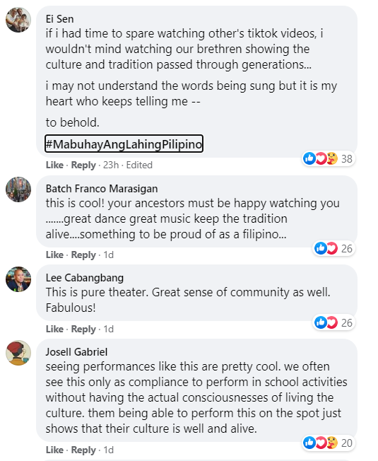 Netizens commenting on the Kalinga dance