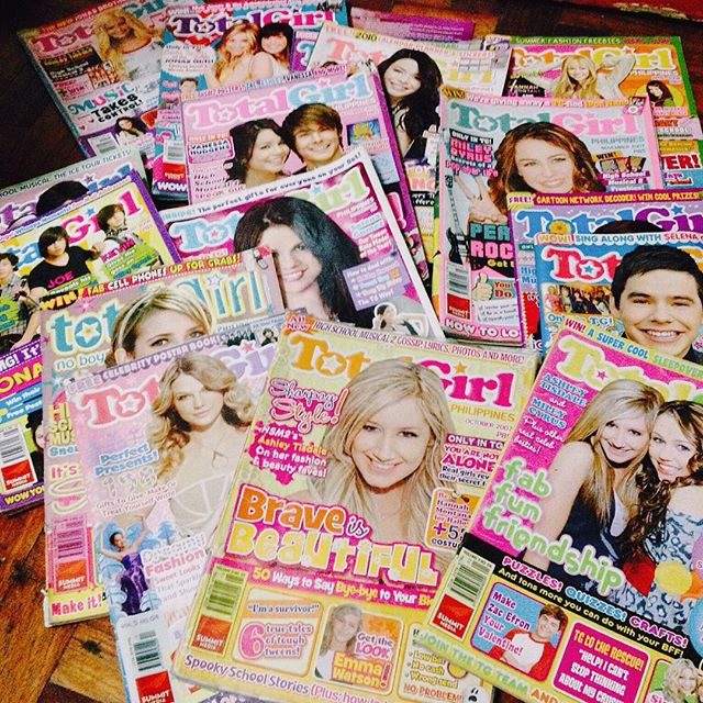 total girl magazines spread out