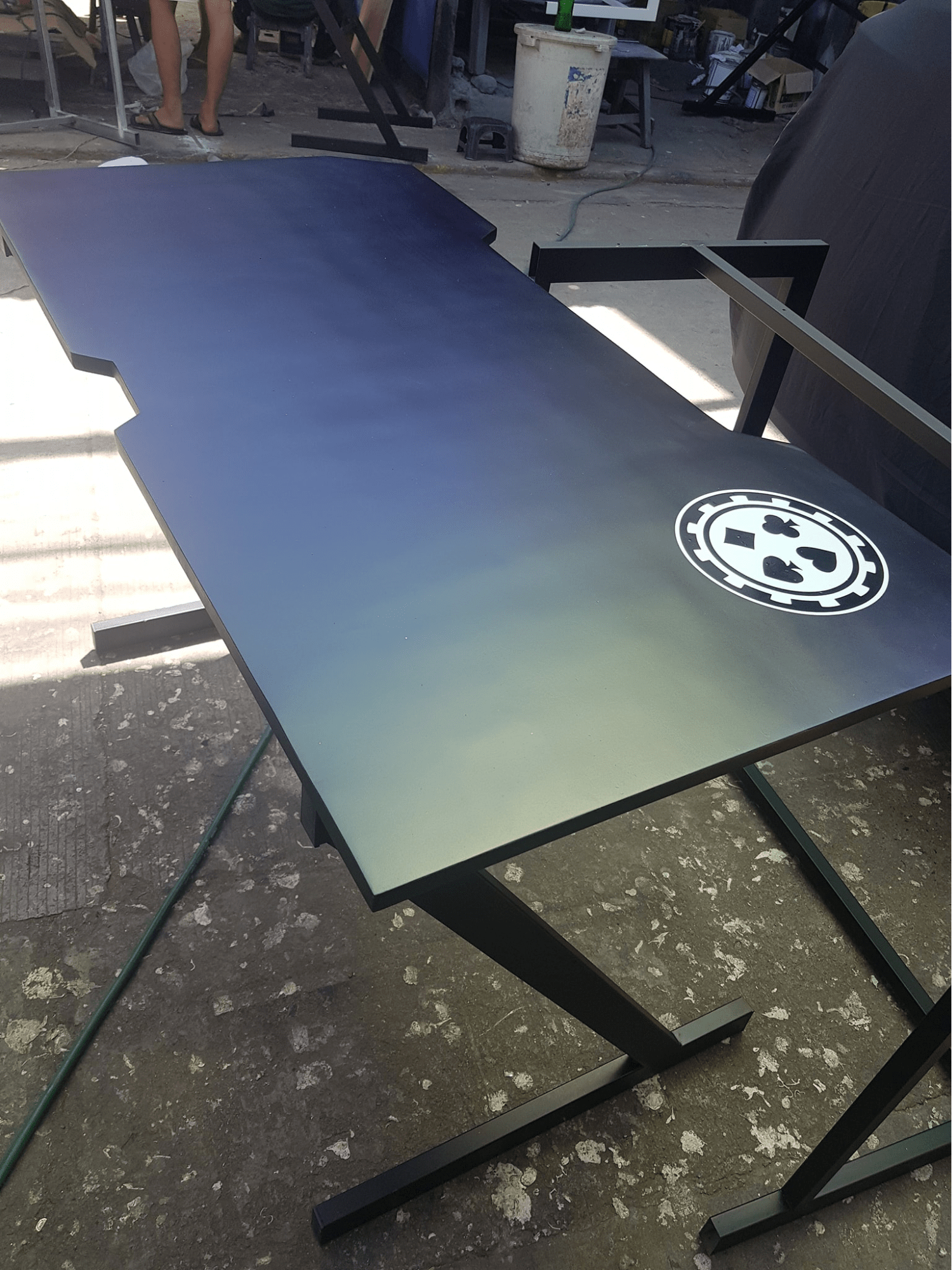 custom tables by jeepney drivers - ombre table