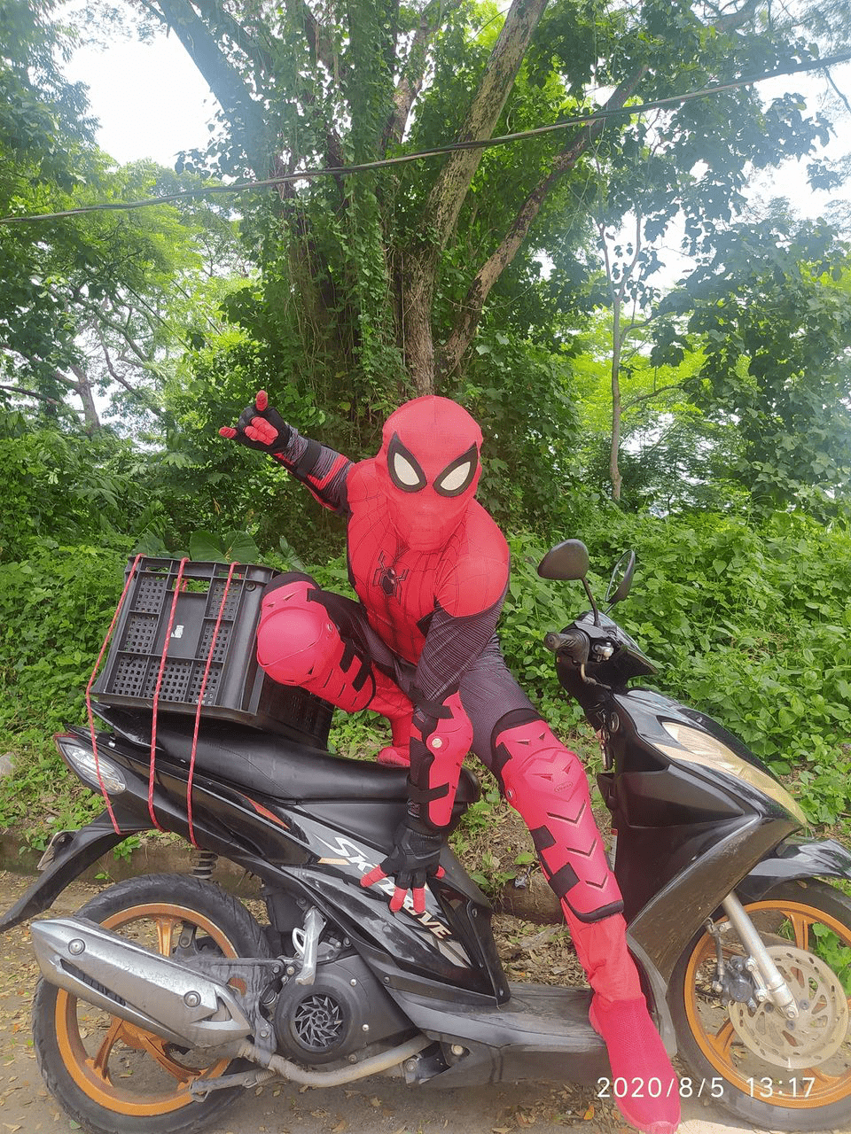 spiderman on delivery bike