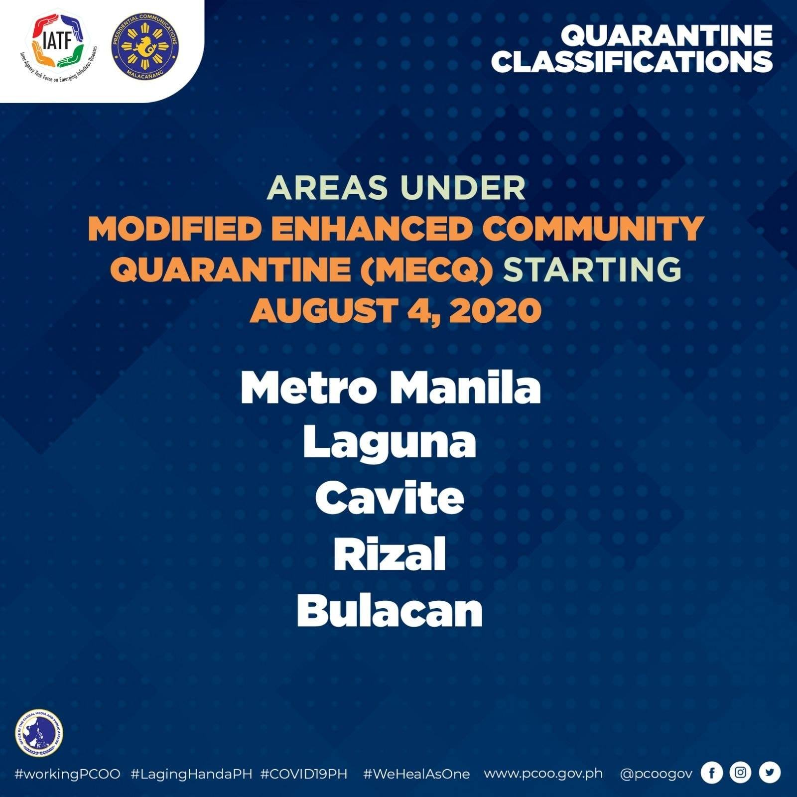 MECQ returns Metro Manila - August 4 to August 18 2020