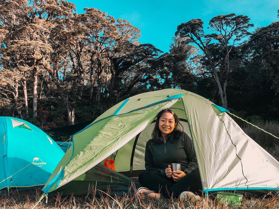 camping in a tent on mount apo