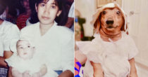 Dachshund Owner Dresses Dog In Her Own Baptismal Dress, Since Her Mom Asked Her To Keep It For A Future Child
