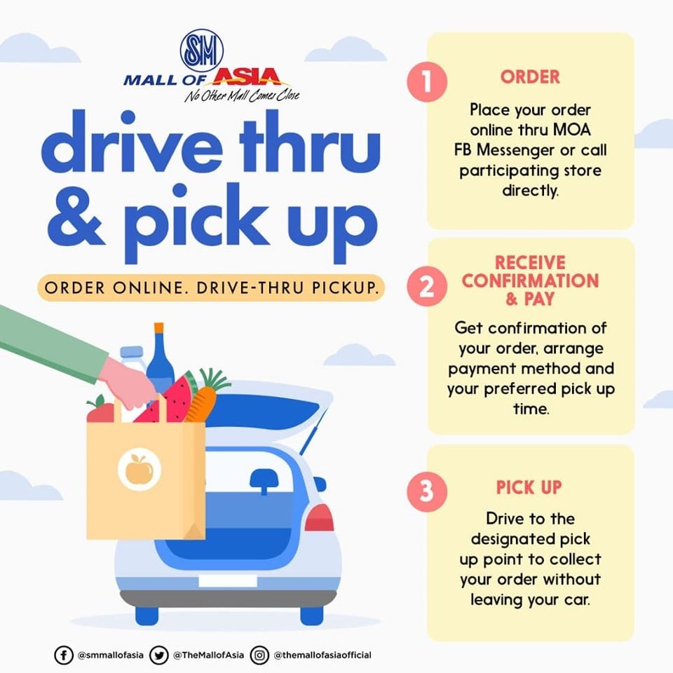 Mall of Asia drive in - drive-thru and pick-up service