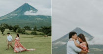 Couple Takes Pre-Nuptial Photoshoot With Mayon Volcano, Featuring Smoky Clouds & Grassland