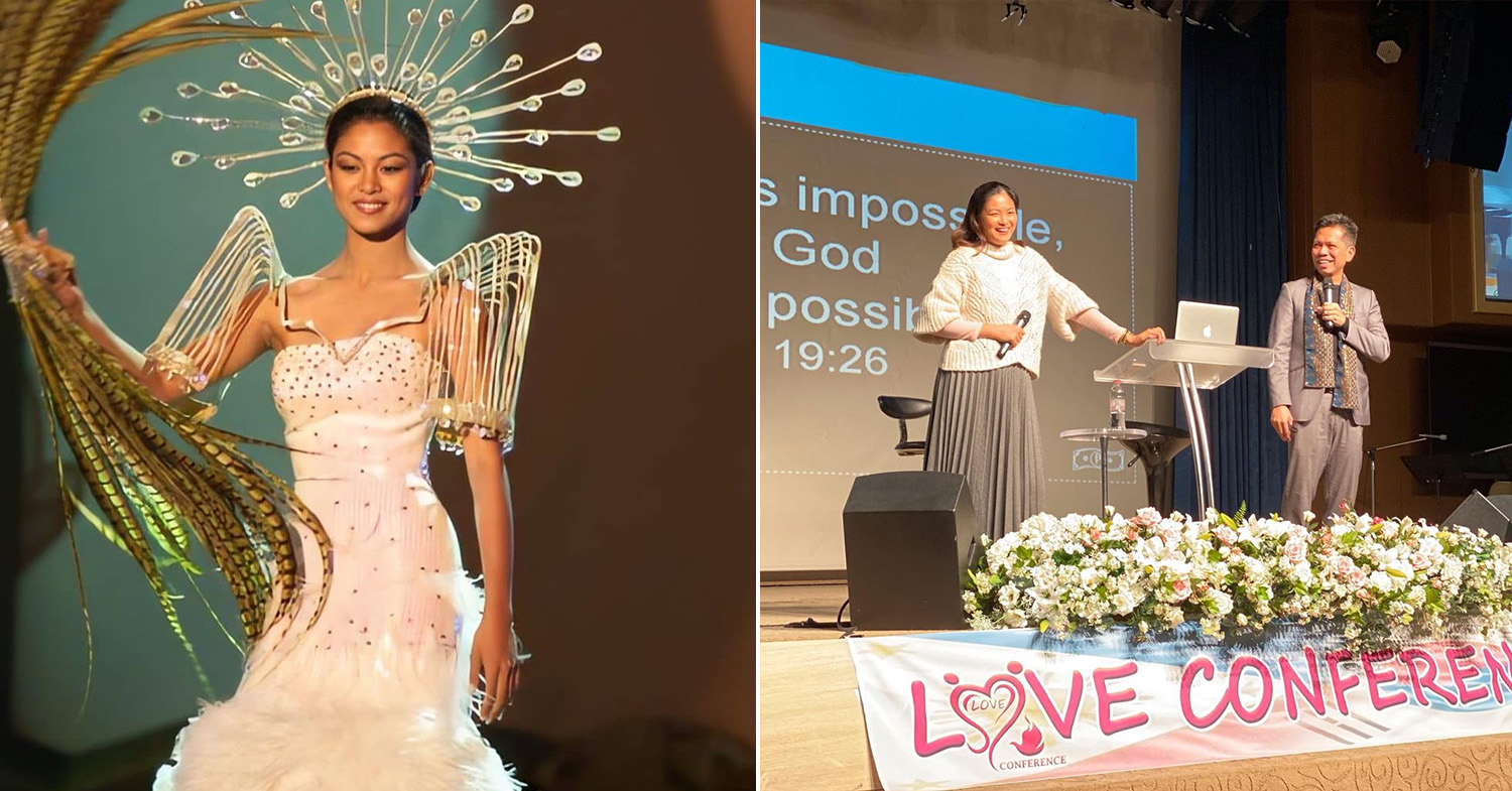 Miss Universe Philippines - Quiambao (left) at the 1999 Miss Universe and Quiambao (right), with her husband, speaking at a conference in 2020