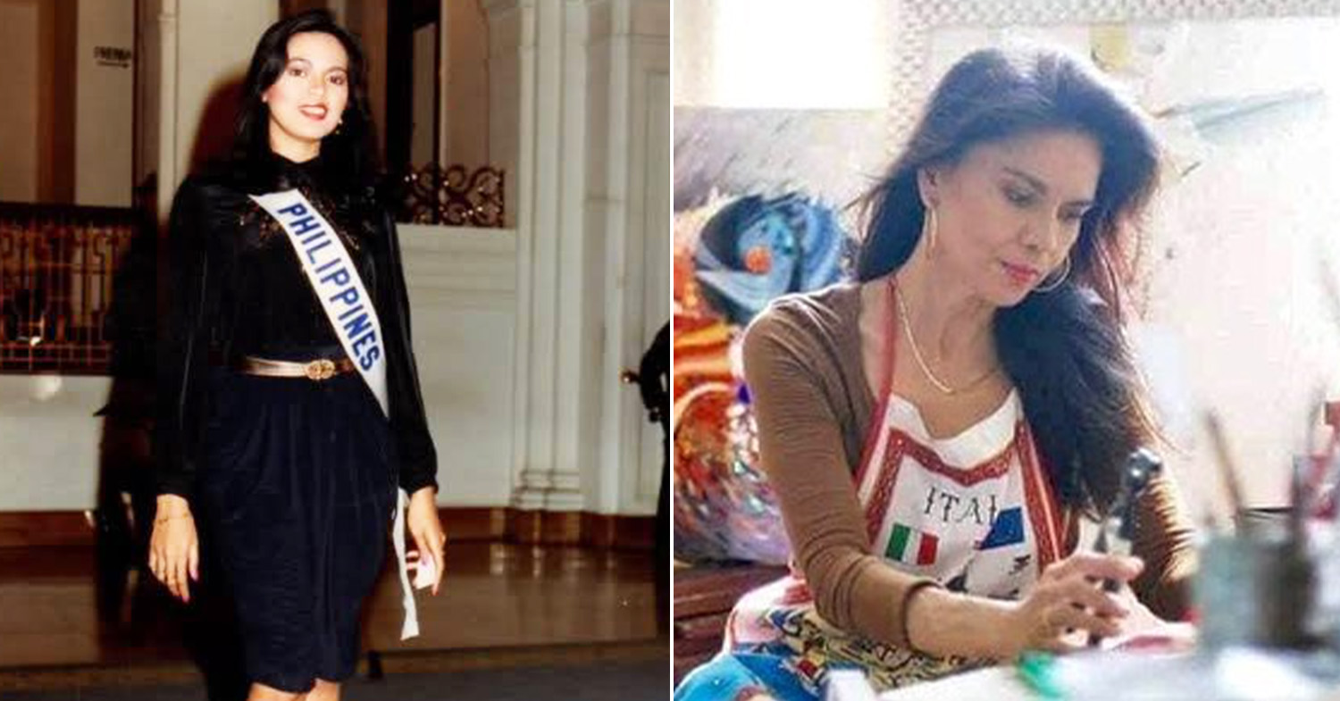 Miss Universe Philippines - Lopez at the 1982 Miss Universe pageant (left) and Lopez (right) in an art studio in 2020