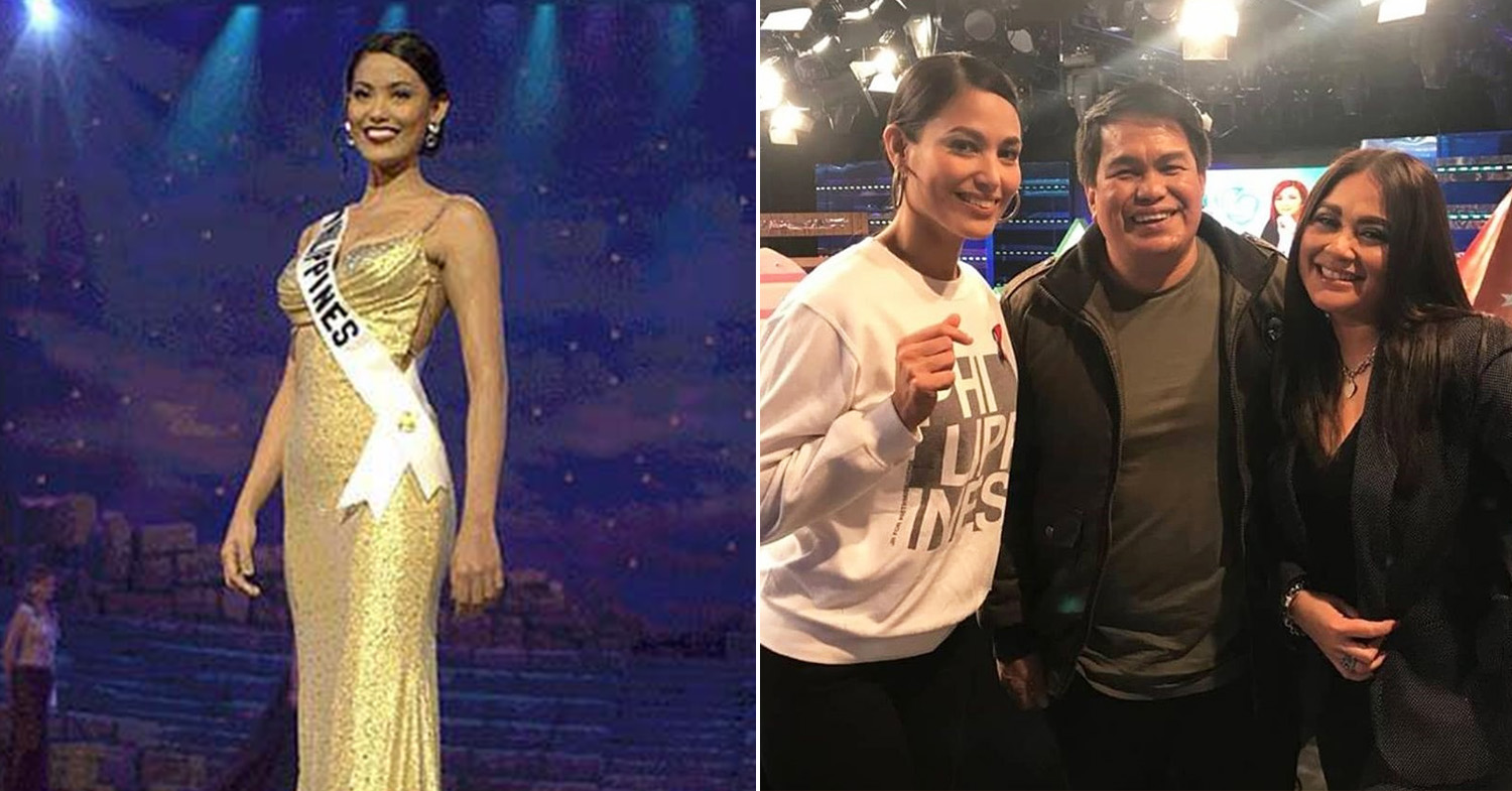 Miss Universe Philippines - Alagao at the 2000 Miss Universe (left) and Alagao (first from left) with her fellow Showtime judges in 2020