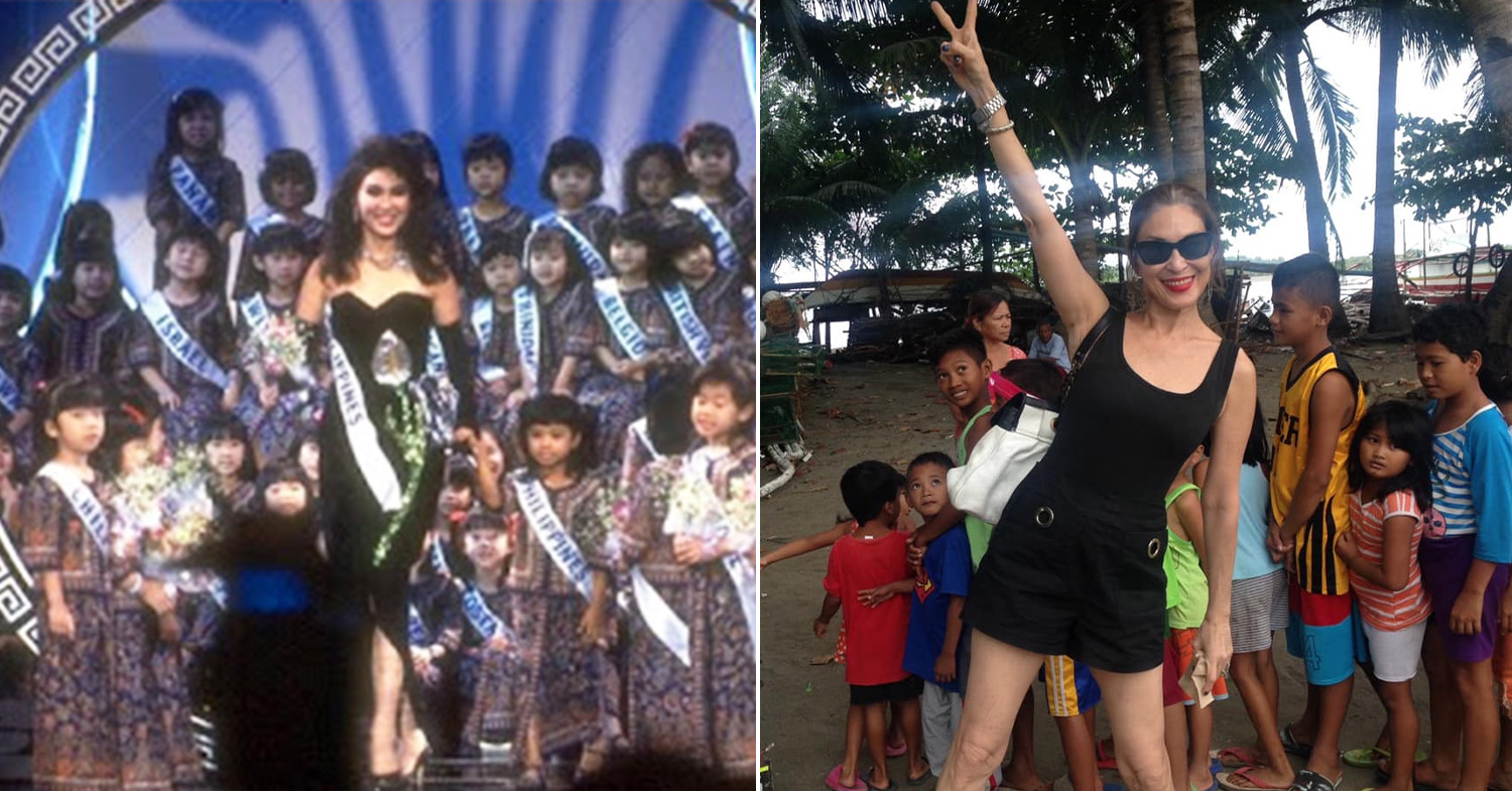 Miss Universe Philippines - Asis (left) at the 1987 Miss Universe and Asis (right) in her hometown Roxas City, Capiz in 2019
