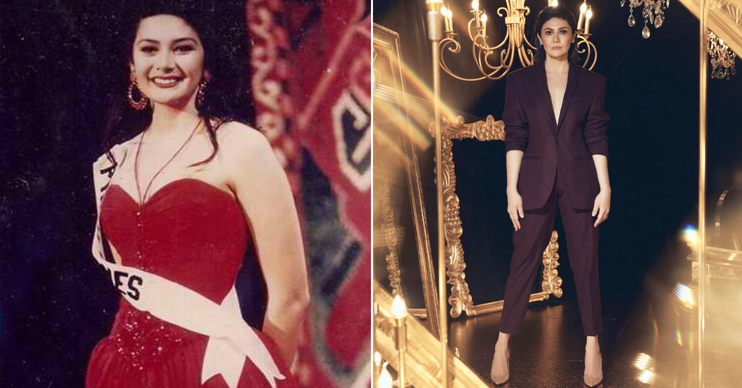 Miss Universe Philippines - Gonzales (left) at the 1994 Miss Universe and Gonzales (right) modeling for Metro Magazine in 2019