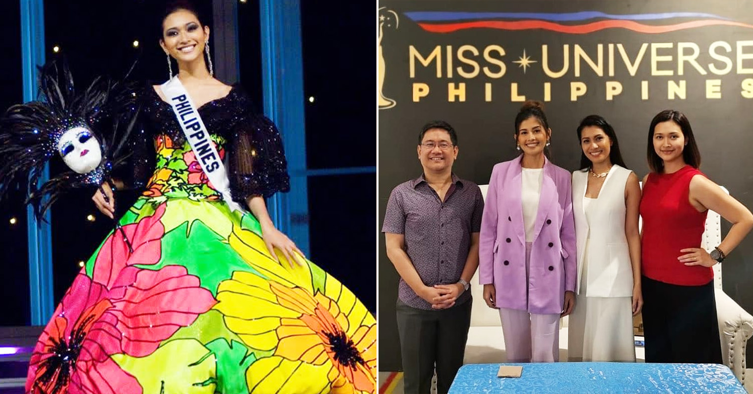 Miss Universe Philippines - Licaros (left) at the 2007 Miss Universe and Licaros in 2020 (first from right) with fellow former beauty queens