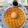 waffles with salted caramel ice cream & chocolate sauce