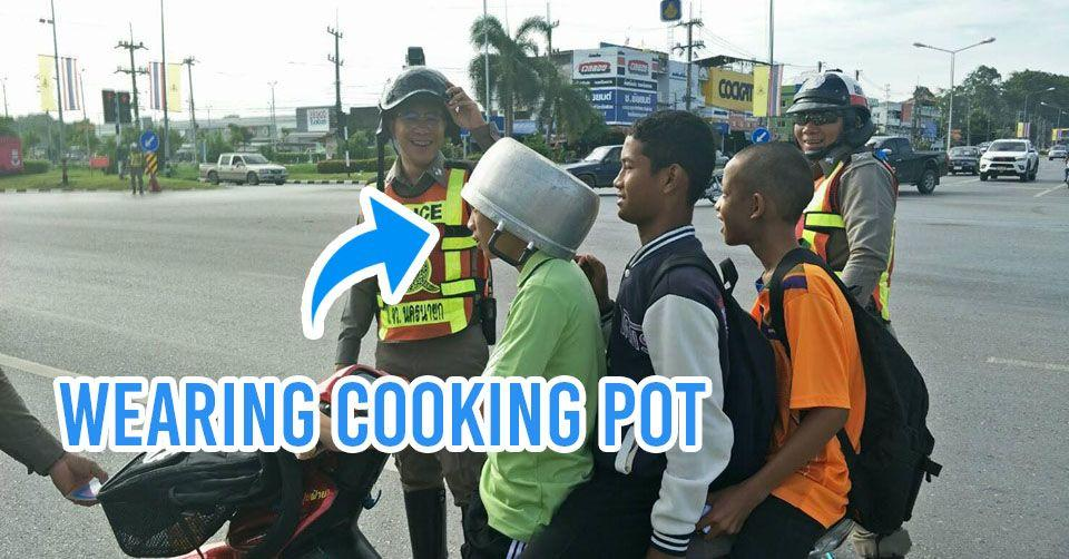 cooking pot boys helmets police